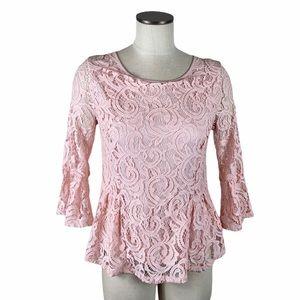 Adrianna Papell Lace Peplum blush Pink Top